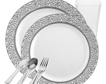 Inspiration Collection GRAND Plastic Dinnerware Package for 60 - 3 Colors (360 piece total)