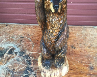 Brown Bear Chainsaw carving FREE SHIPPING