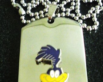 Roadrunner Titanium Steel Dog Tag with adjustable 24-Inch beaded necklace with Free Engraving