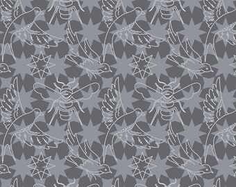 Seventy-Six by Alison Glass Flourish in Pepper A-8446-K cotton fabric andover modern material quilting supplies grey tonal stars