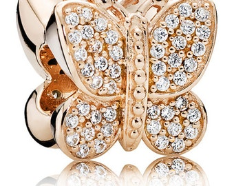 Authentic Pandora Rose Gold SPARKLING BUTTERFLY Charm Bead