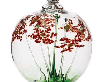 Blossom Ball- HAPPY BIRTHDAY- Kitras- Hand Blown Art Glass- 6 inches- (blos-06-hb)
