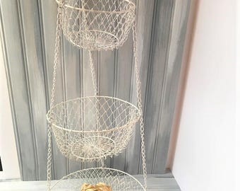 White Kitchen Hanging Baskets / White Fruit Basket / Hanging Fruit Basket / Hanging Baskets / Fruit Basket / White Kitchen Decor