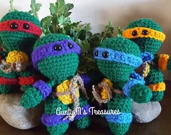 "TMNT..crocheted mini Teenage Mutant Ninja Turtles..between 5 1/2 and 6 "" in height."