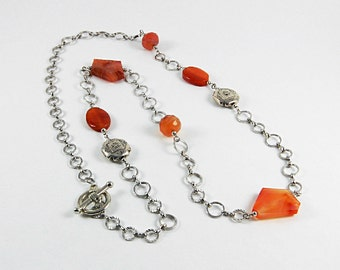 Carnelian, Long chain necklace, Stainless steel beads, Beaded necklace, semiprecious stones,Minimalist jewelry
