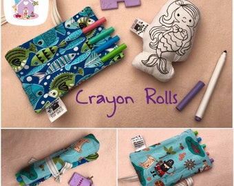 Mini Crayon Roll Made To Order Childrens Pen Roll Personalised
