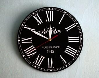 Roman Numeral Clock-Black Wall Clock-Vintage Clock-Round Wood Clock-Black and White-Handmade Black Clock-Classic Clock-Mid Century Clocks