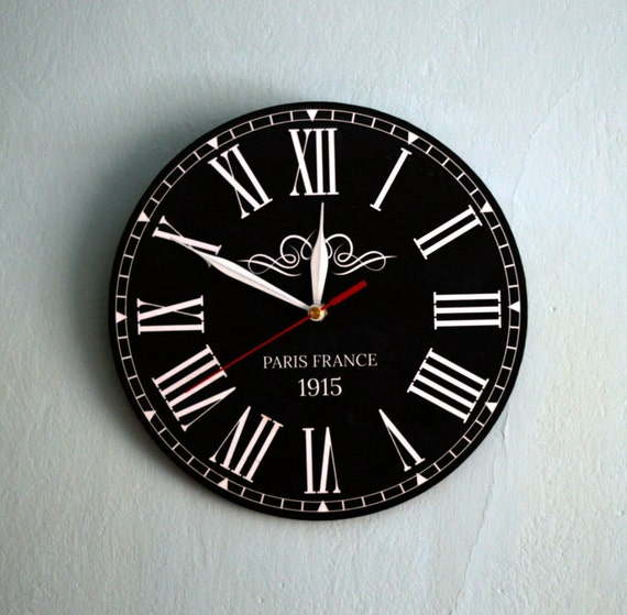 Roman Numeral Clock Black Wall Clock Vintage Clock Round Wood