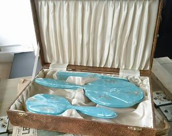 Vintage vanity set. Vintage mirror and hairbrush set. Vintage vanity case. Teal and gold.