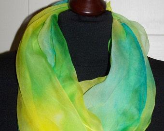 "Silkscarf ""Julimone"", silk, scarf, shawl, chiffon, long scarf, one of a kind, handpainted, Silkpainting, wearable art"