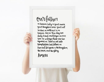 Christian Posters, The Lord's Prayer, Christian Gifts - Christian Prints - Faith Gifts - Wall-Art - Home Decor - Scripture Art