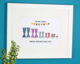 Personalised Classic Welly Boot Family Print