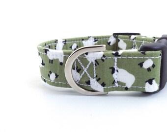 Sage Green Sheep Dog Collar | Dog Collar | Green Dog Collar | Puppy Collar | Girl Dog Collar | Farm Dog Collar | Male Dog Collar | Boy Dog