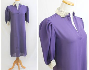 Vintage 70's Purple Sheer with Lace Poof Sleeve Feminine Victorian Flowy Dress JODY T of California