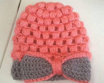 Crocheted Beanie with Bow