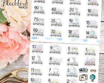 USA Vacation Countdown Stickers | Hand Drawn original Planner Stickers [SE0002]