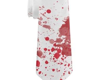 Blood Splatter Zombie Attack All Over Neck Tie