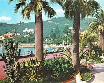 Vintage 60s Italian Riviera Travel Postcard Seaside Promenade Genoa Italy Real Photo Vintage Stamp Posted