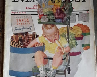 The Saturday Evening Post August 31, 1940 Magazine  Colorful Forties Advertising