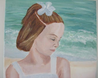 acrylic portrait painting:  Girl on the Beach