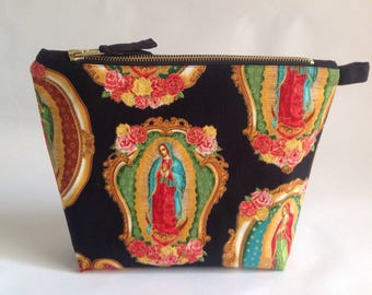 Large handmade virgin of Guadalupe fabric Bag for toiletries, cosmetics or makeup