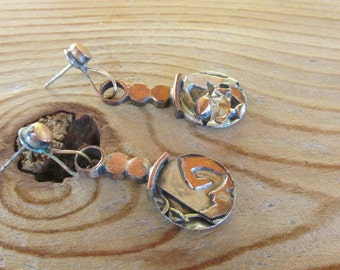 Copper and sterling dangle earrings.