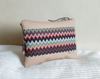 Pouch bag case makeup beige and brown orange Chevron khaki and gray