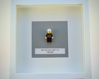 When I grow up I want to be..... A Firefighter LEGO mini Figure framed picture 25 by 25 cm