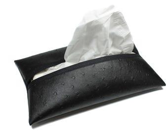 Pocket tissue box leather black ostrich, home decoration