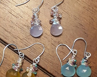 Blue, Yellow, and Pink Chalcedony wire wrapped Earrings