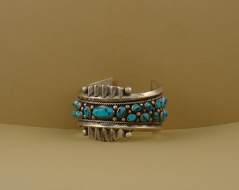 Vintage Native American Bracelet, sterling silver and turquoise, color blue, vintage cuff bracelet