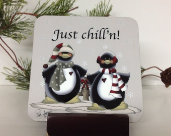 Penguin Coaster, Penguin Coaster Set, Penguin Decor, Just chill'n, Penguin Bar Coasters, Penguin Table Coaster, Penguin Drink Coaster