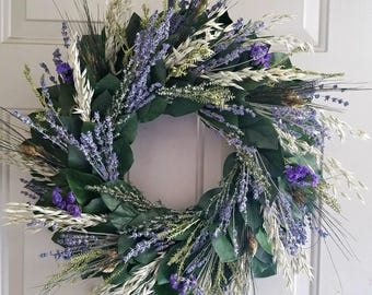 Lavender wreath, preserved lemon leaf wreath, custom sizes, preserved wreath, natural wreath, salal wreath, indoor wreath