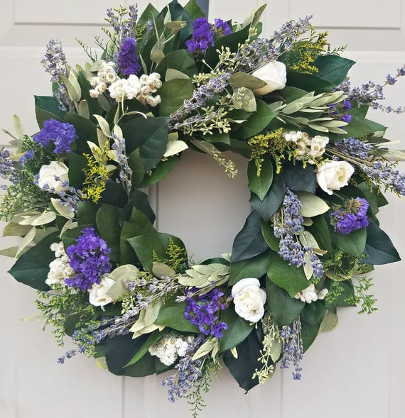 Custom sizes, large wreath, small wreath, purple wreath, decorative wreath, lavender wreath, fragrant wreath, natural wreath, dried wreath