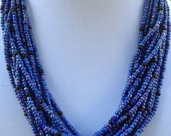Blue Multi-Strand Adjustable Leather Cord Necklace