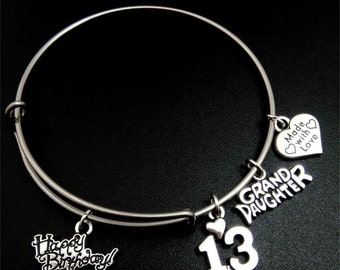 13th Birthday Bracelet, 13th birthday, bangle bracelet, Happy Birthday, Grand Daughter, Made with Love, granddaughter gift, valentines gift
