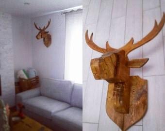 Handmade Solid Reclaimed Wood Deer Head Wall Mount