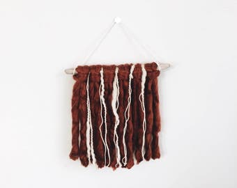 Yarn Wall Hanging | Boho/Western | Rust + Off White | Small
