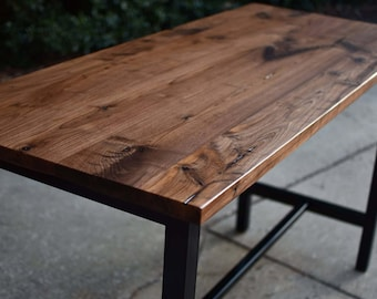 Solid Walnut and Steel Bar table