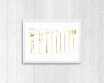 Gold Makeup Brushes | Instant Digital Download