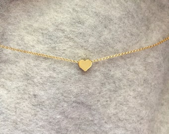 Tiny Heart Necklace-Gold Heart Necklace-Dainty Heart Necklace-Small Heart Necklace-Delicate Heart Necklace-Heart Bead Necklace-Heart