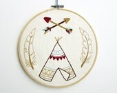 Teepee embroidery pattern Tribal embroidery - PDF - Instant download
