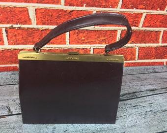 Vintage 1950 s Viri Brown Leather Handbag Purse