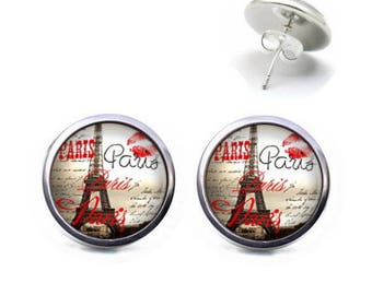 Studs 12 mm cabochon jewelry PARIS Eiffel Tower Kiss