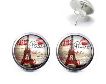 Studs 12 mm cabochon jewelry PARIS Eiffel Tower Kiss