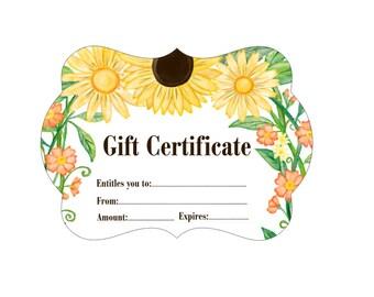 Gift Certificate, Custom Gift Certificate, Sunflower Gift Certificate, Floral Gift Certificate, Business Gift Certificate, 50QTY