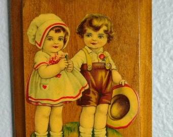 Vintage Cutout Kids Print Mounted On Wood