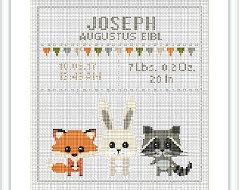 Baby Cross Stitch Pattern fox rabbit racoon Birth sampler Birth announcement Record chevron New baby girl boy Animals crossstitch X191