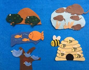 Over in the meadow Felt Set/Teacher Resource/Felt board/Felt Board Activity/Flannel Board/Imagination/Creative Play/Counting/Preschool