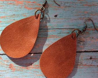 Teardrop leather earrings, camel leather teardrop earrings, tan camel leather earrings